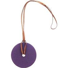 Hermes Iris Togo Gold Epsom Reversible Leather Pendant Necklace