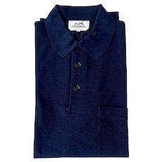 Hermes Blue Marine Navy Men's Polo Short Sleeve Large Classic