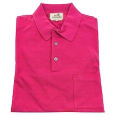 Hermes Rose Indian Men's Polo Short Sleeve Hot Pink Cotton Large Spring!