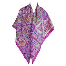 Hermes Secret Paths Silk Shawl Carre GM 140cm Purple Pink Divine
