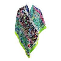 Hermes Au Pays des Oiseaux Fleurs Cashmere Silk Shawl GM Scarf Green Amazing