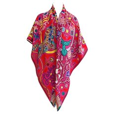 Hermes L'Arbre du Vent Cashmere Silk Shawl Scarf GM 140cm Fabulous