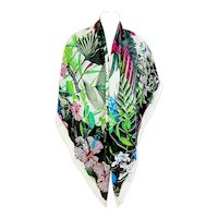 Hermes Flamingo Party Blanc Vert Fuchsia Cashmere Silk Shawl