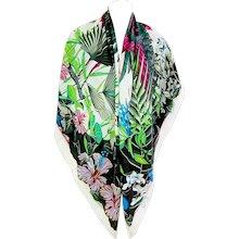 Hermes Flamingo Party Blanc Vert Fuchsia Cashmere Silk Shawl