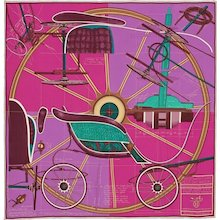 Hermes Petit Duc Silk Scarf Pink Purple Green Carre 90cm