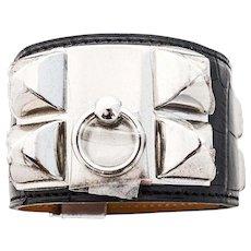 Hermes Matte Black Crocodile Gator PHW Collier de Chien CDC Leather Cuff Bracelet