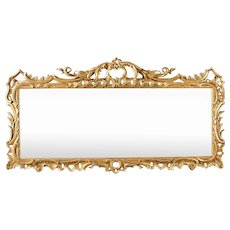 An English George II Period 18th Century Giltwood Overmantel Mirror