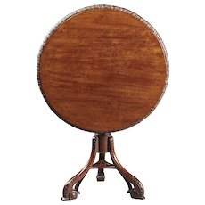An 18th Century English George II Period Carved Mahogany Tilt Top Table