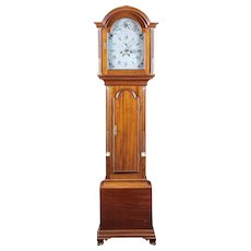 A Diminutive American Tall Case Clock in Mahogany with Painted Face