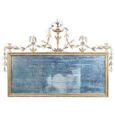 An 18th Century English Hepplewhite Period Giltwood Overmantle Mirror