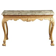 An 18th Century English Georgian Giltwood Console With Carved Indian Heads