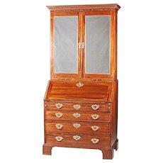 An Antique 18th Century English George III Mahogany Secretary With Mirrored Doors