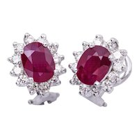 3.20 Carat Oval ruby Diamond Gold Earrings
