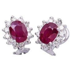 3.20 Carat Oval ruby Diamond Gold Earrings