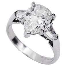 3.24 Carat Pear Shape Diamond Platinum Three-Stone Ring