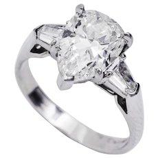 3.24 Carat Pear Shape Diamond Platinum Three-Stone Ring