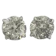 4.14 Carats Diamond Stud Earrings