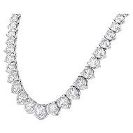 Platinum Graduated Riviera Necklace 50.80 Cts.
