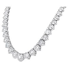 Platinum Graduated Riviera Necklace 50.80 Cts.