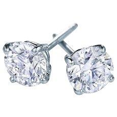4.14 Ctw Diamond Studs Earrings in 18kt White Gold