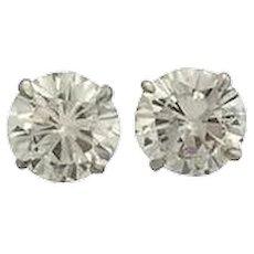 4.08 Carats Diamonds Gold Stud Earrings