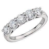 1.63 Carats Diamonds Eternal Diamond Platinum 5 Stone Ring