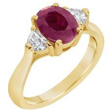 Oval Ruby w/ Half Moon Diamonds Three-Stone Ring