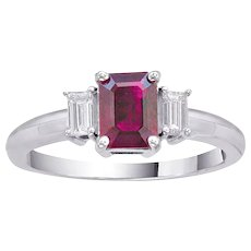 Emerald Cut Cushion Ruby Diamond Gold Ring 1.28 Carats