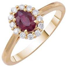 Oval Ruby Diamond Ring 0.70 Carats