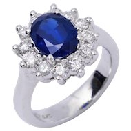 Oval Sapphire Diamond White Gold Halo Engagment Ring