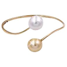 South Sea Pearl Gold Bangle Bracelet