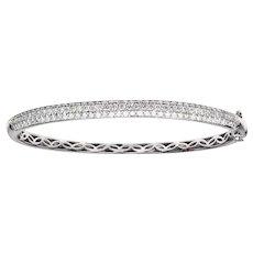 1.91 Carats Diamond Gold Curved Bangle Bracelet