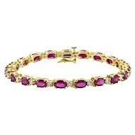 Oval Ruby & Diamond Bracelet 6.56 Carats