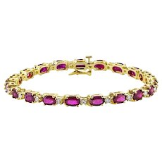 Oval Ruby & Diamond Bracelet 6.56 Carats