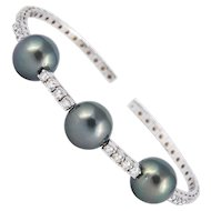 Diamond & Pearl Bangle Bracelet