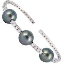 Diamond & Pearl Bangle Bracelet