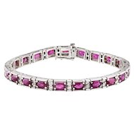 Oval Ruby & Diamond Patterned White Gold Bracelet