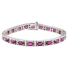 Oval Ruby & Diamond Patterned White Gold Bracelet