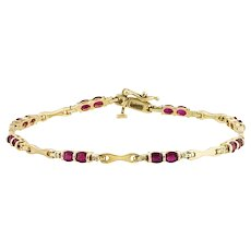 Oval Ruby, Diamond, & Gold Bracelet