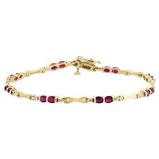 Oval Ruby, Diamond, & Gold Bracelet