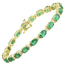 Oval Emerald & Diamond Patterned Gold Bracelet