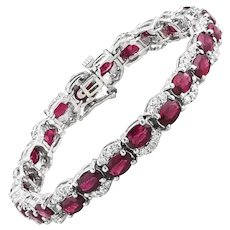 Ruby and Diamond Pillow Bracelet