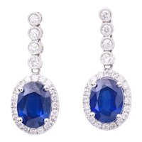 2.90 Carat Oval Shape Sapphire Diamond White Gold Dangle Earrings