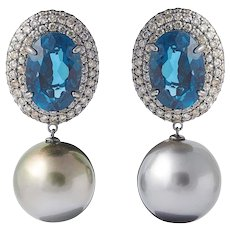 London Blue Topaz and Champagne Diamonds Tahitian Pearl Dangle Earring