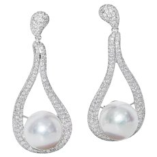 South Sea Pearl and Diamond Dangle Earrings