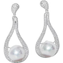 South Sea Pearl and Diamond Dangle Earrings