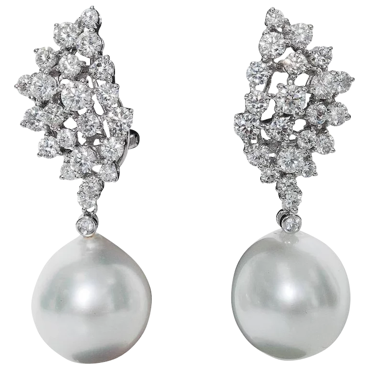 Diamond Cer And Pearl Drop Earrings