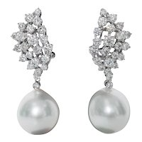 Diamond Cluster and Pearl Drop Earrings