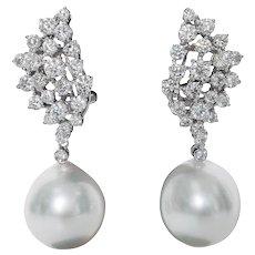 Diamond Cluster and Pearl Drop Earrings