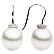 South Sea & Diamond Drop Earrings